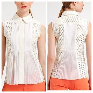 TORY BURCH 'Durrell' eyelet pleated button up top